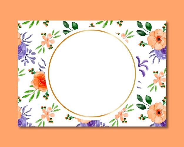 Moldura com padrão sem emenda em aquarela floral roxo laranja