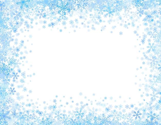 Moldura com pequenos flocos de neve