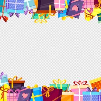 Moldura com presentes. pacotes de saudações coloridas com fitas na decoração de fundo transparente