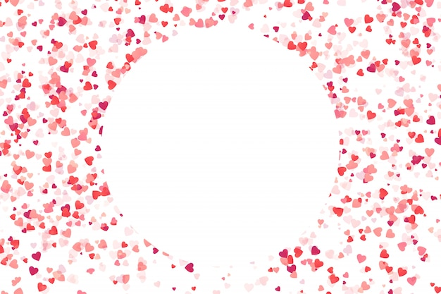 Moldura confete rosa coração sobre fundo branco. conceito de feliz aniversário, festa, evento romântico e feriados.
