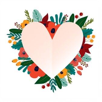 Moldura coração lindo com arranjo de flores coloridas