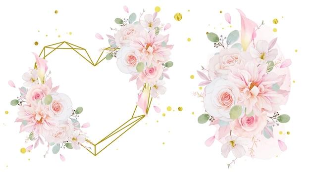 Moldura de amor em aquarela e buquê de rosas, dália e flor de lírio