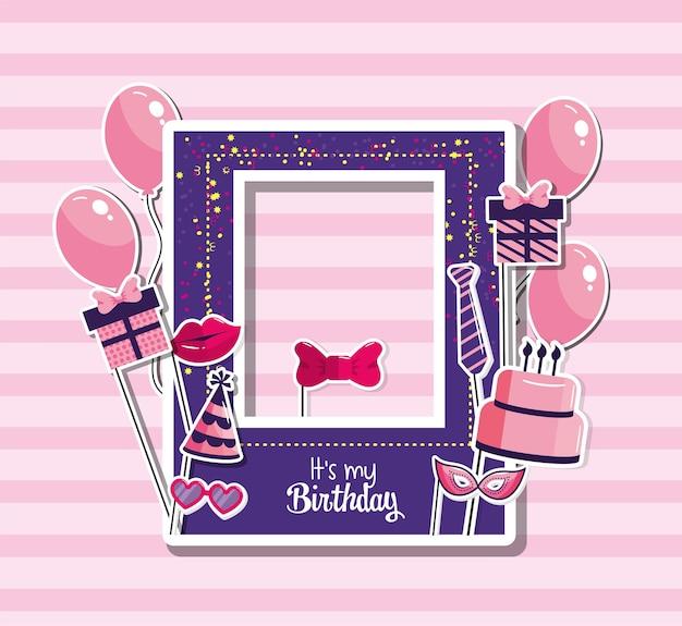 Moldura de aniversário com balões e decoração de bolo