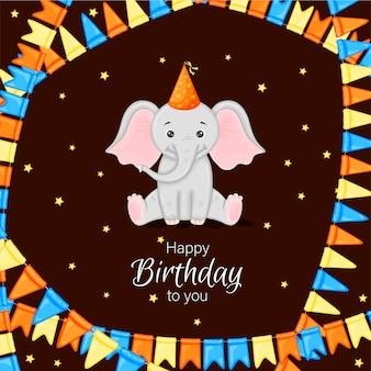 Moldura de aniversário com elefante fofo. estilo de desenho animado. ilustração vetorial.