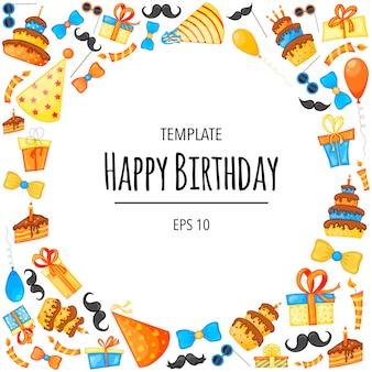 Moldura de aniversário com objetos para cartão de férias ou convite. estilo de desenho animado. ilustração vetorial.