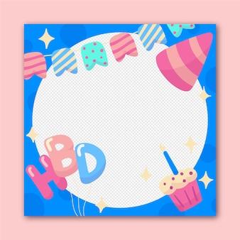 Moldura de aniversário desenhada à mão no facebook
