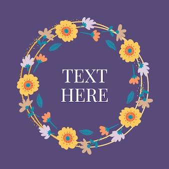 Moldura de banner com flores