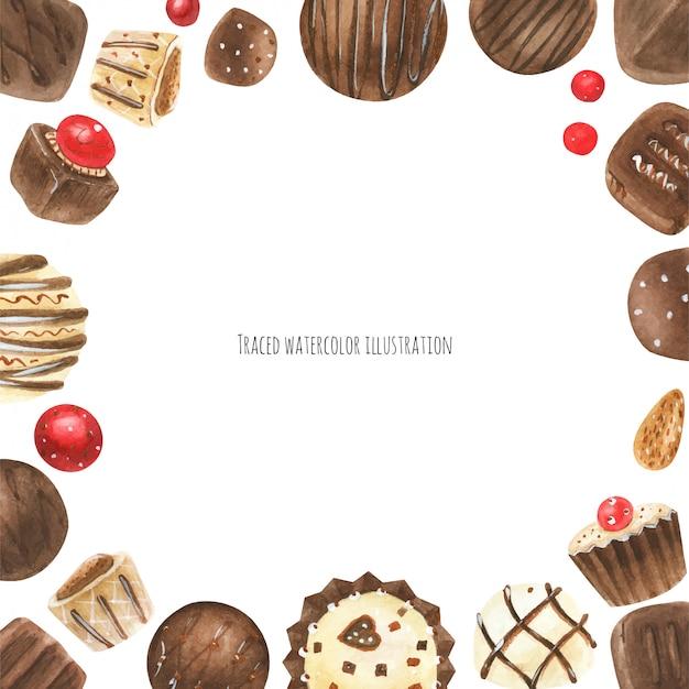 Moldura de bombons de chocolate