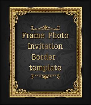 Moldura de borda de ouro foto modelo vector design