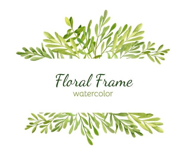 Moldura de borda floral com folhas verdes. ilustração de vegetação em aquarela Vetor Premium