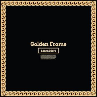 Moldura de borda quadrada de corrente dourada. forma de retângulo. design de joias. ilustração vetorial.