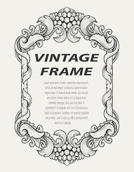 Moldura de borda vintage gravura ornamento estilo monocromático