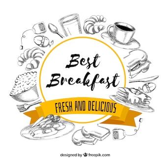 Moldura de café da manhã desenhada de mão
