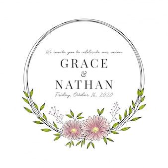 Moldura de cartão de convite de casamento com flores