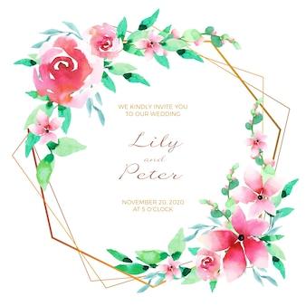 Moldura de cartão de convite de casamento floral
