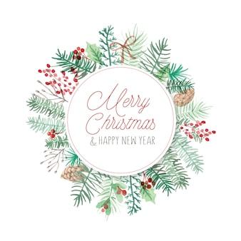 Moldura de cartão de natal redonda