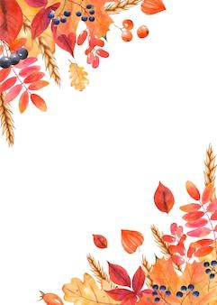 Moldura de cartão em aquarela com folhas de outono