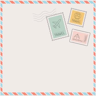 Moldura de cartão postal estampado com tema de viagens