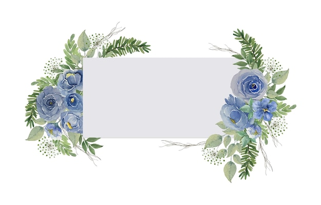 Moldura de cartão retangular vintage azul claro aquarela com decoração de buquê de rosas