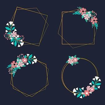 Moldura de casamento com arranjo de flores