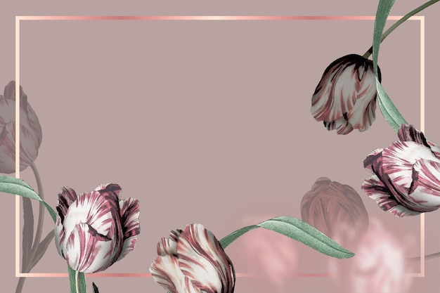 Moldura de casamento com borda de tulipa em fundo marrom Vetor grátis