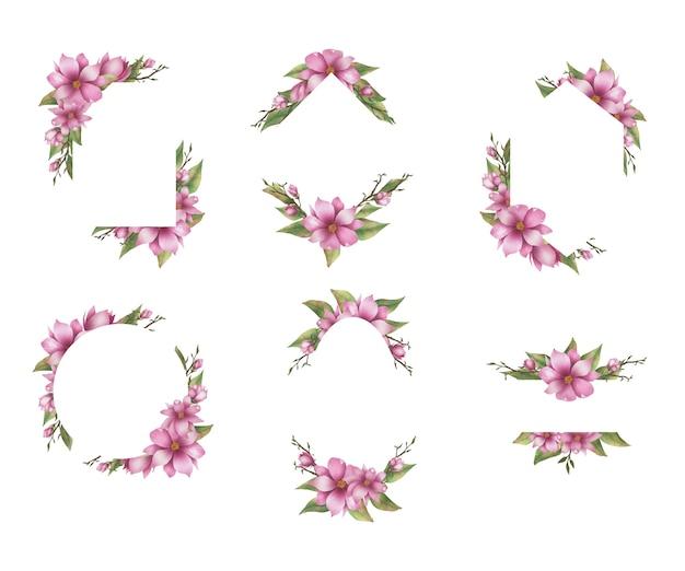 Moldura de casamento com buquê de flores em aquarela