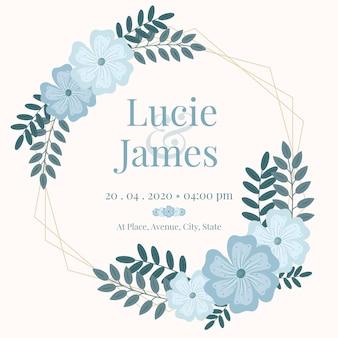 Moldura de casamento com flores azuis