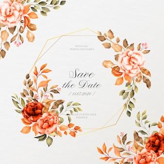 Moldura de casamento romântico com flores vintage