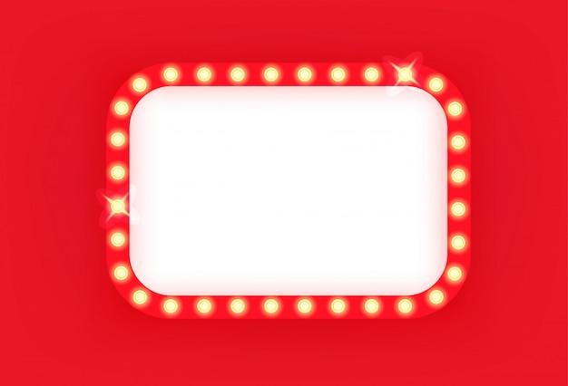 Moldura de cinema retrô iluminada com cantos arredondados.