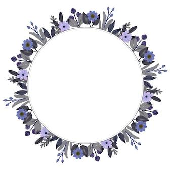 Moldura de círculo com borda de flor aquarela roxa e cinza