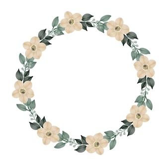 Moldura de círculo com borda de flor branca para saudação e cartão de casamento