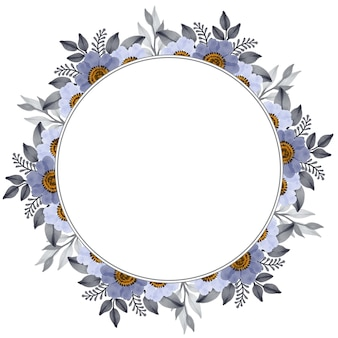 Moldura de círculo com borda de flor cinza e branca
