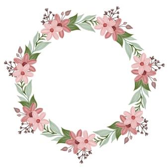 Moldura de círculo com borda de flor vermelha e rosa
