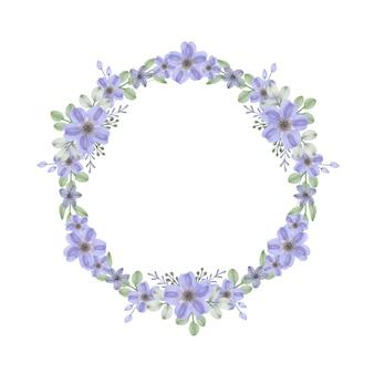 Moldura de círculo com borda de flores roxas