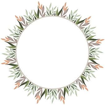 Moldura de círculo com borda de folha verde e laranja para cartão de casamento