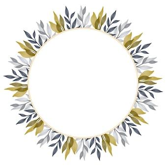 Moldura de círculo com borda de folhas amarelas e cinza para saudação e cartão de casamento