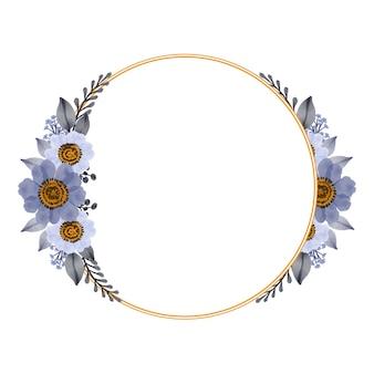 Moldura de círculo com buquê de flores brancas roxas para convite de casamento