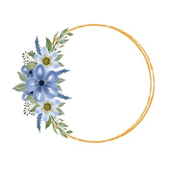 Moldura de círculo com buquê de flores em aquarela azul