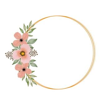 Moldura de círculo com buquê laranja para convite de casamento