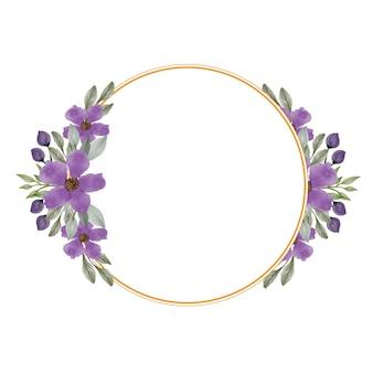 Moldura de círculo com buquê roxo para convite de casamento