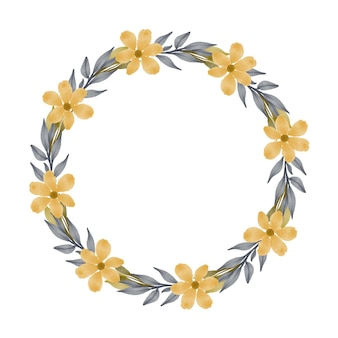 Moldura de círculo com flor amarela e folha cinza para saudação e cartão de casamento