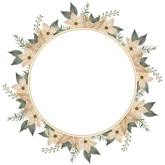 Moldura de círculo com flor amarela sof e borda de folhas verdes para cartão de casamento