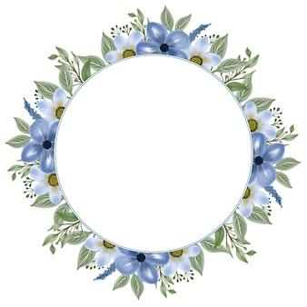 Moldura de círculo com flor azul e borda de folha
