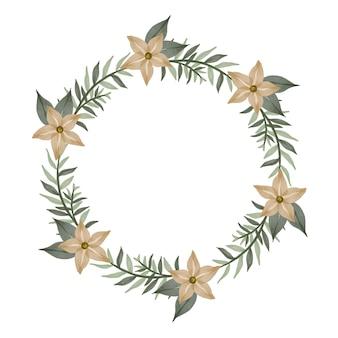 Moldura de círculo com flor creme e borda de folha verde