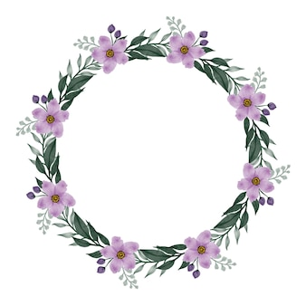 Moldura de círculo com flor de flor roxa e borda de folha para saudação e cartão de casamento