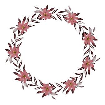 Moldura de círculo com flor de flor vermelha e borda de folha cinza para cartão de casamento