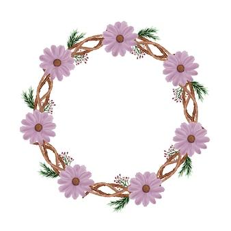Moldura de círculo com flor em aquarela rosa e borda de galho