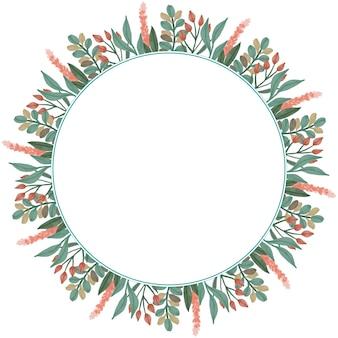 Moldura de círculo com flor em cores e borda de folha