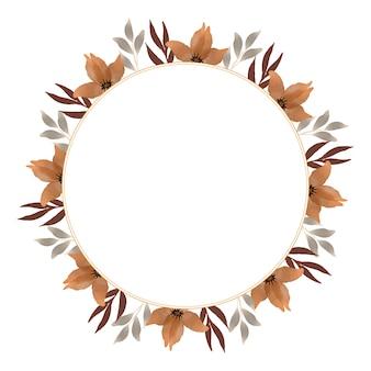 Moldura de círculo com flor marrom e borda de folha cinza