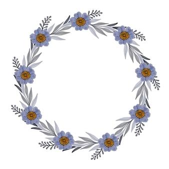 Moldura de círculo com flor roxa e borda de folhas cinza